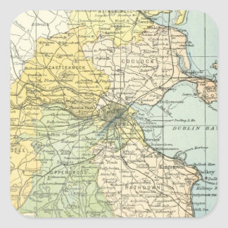 Vintage Map of Dublin and Surrounding Areas (1900) Square Sticker
