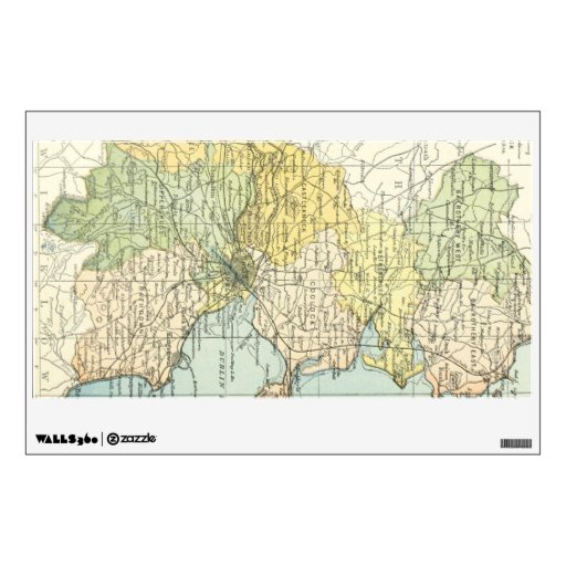 Vintage Map of Dublin and Surrounding Areas (1900) Room Sticker