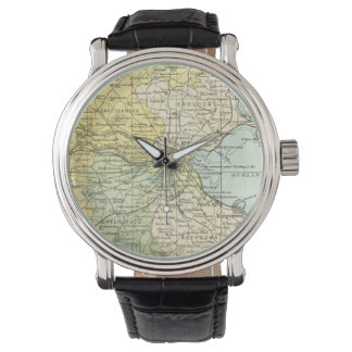 Vintage Map of Dublin and Surrounding Areas (1900) Wristwatch