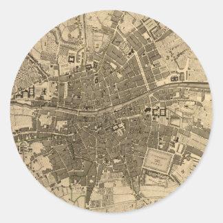 Vintage Map of Dublin Ireland (1797) Classic Round Sticker
