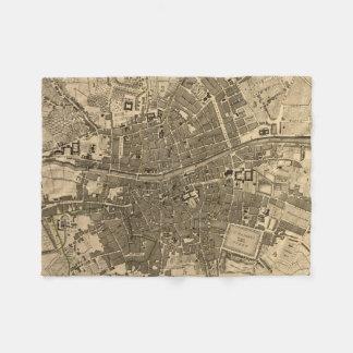 Vintage Map of Dublin Ireland (1797) Fleece Blanket