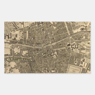 Vintage Map of Dublin Ireland (1797) Rectangular Sticker
