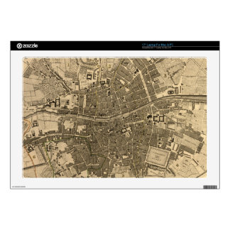 """Vintage Map of Dublin Ireland (1797) Decals For 17"""" Laptops"""