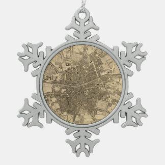 Vintage Map of Dublin Ireland (1797) Snowflake Pewter Christmas Ornament