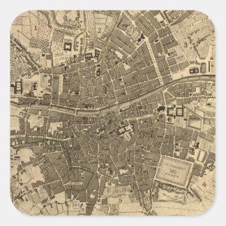 Vintage Map of Dublin Ireland (1797) Square Sticker