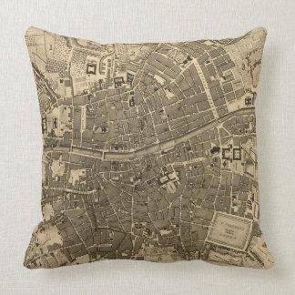 Vintage Map of Dublin Ireland (1797) Throw Pillow