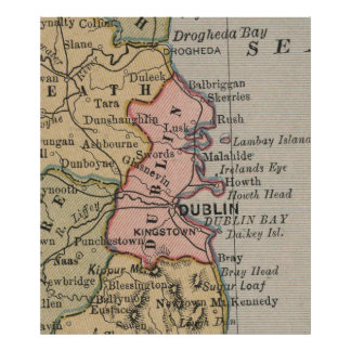 Vintage Map of Dublin Ireland (1883) Poster