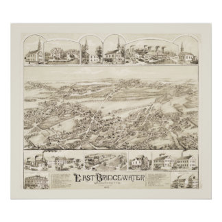 Vintage map of East Bridgewater, Mass from 1887 Poster