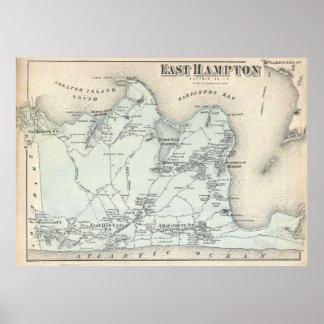 Vintage Map of East Hampton New York (1873) Poster