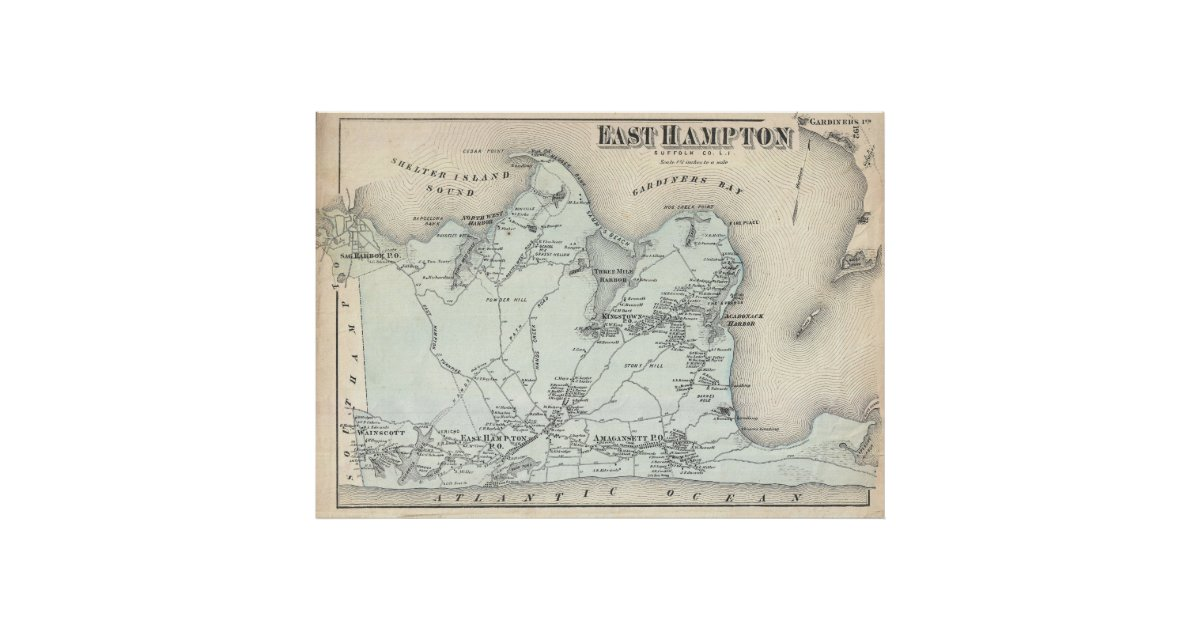 Vintage Map of East Hampton New York 1873 Poster  Zazzlecom