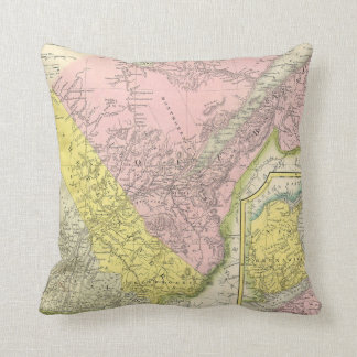 Vintage Map of Eastern Canada (1850) Throw Pillow