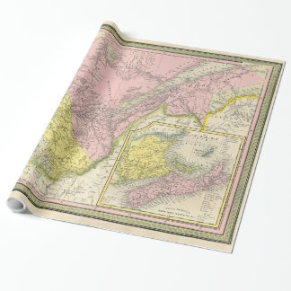 Vintage Map of Eastern Canada (1850) Wrapping Paper
