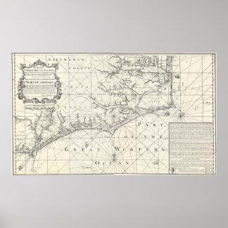 Vintage Map of Eastern North Carolina (1738) Poster