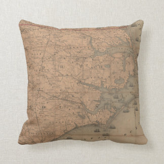 Vintage Map of Eastern North Carolina (1862) 2 Throw Pillow