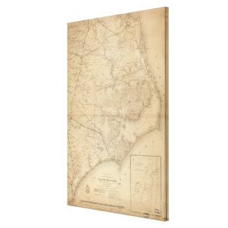 Vintage Map of Eastern North Carolina (1862) Canvas Print