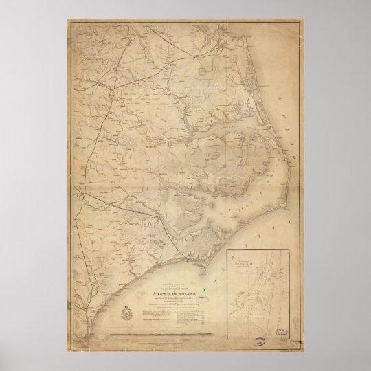 Vintage Map of Eastern North Carolina (1862) Poster
