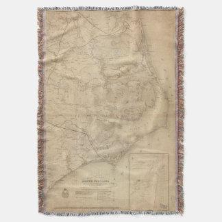 Vintage Map of Eastern North Carolina (1862) Throw Blanket