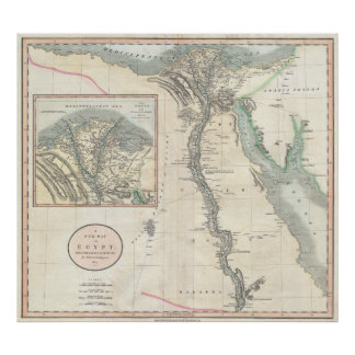 Vintage Map of Egypt (1805) Poster
