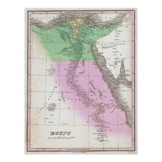 Vintage Map of Egypt (1827) Poster