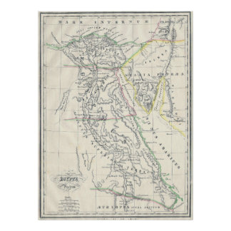 Vintage Map of Egypt (1837) Poster