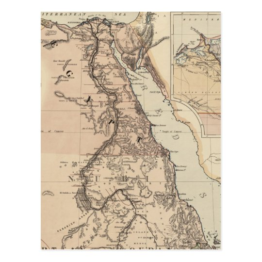 Vintage Map of Egypt and The Nile (1885) Postcard