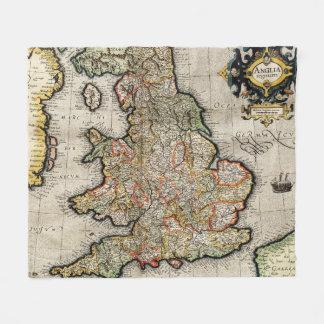 Vintage Map of England (1596) Fleece Blanket
