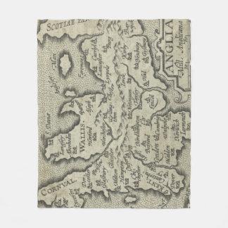 Vintage Map of England (1603) Fleece Blanket