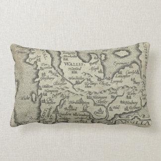 Vintage Map of England (1603) Lumbar Pillow
