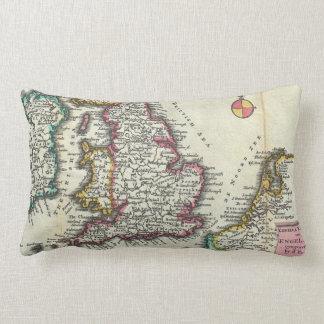 Vintage Map of England (1747) Lumbar Pillow