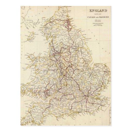 Vintage Map of England (1837) Postcard