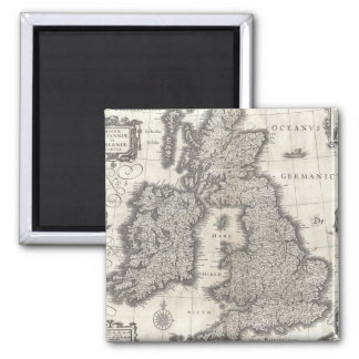 Vintage Map of England and Ireland (1631) 2 Inch Square Magnet