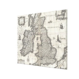 Vintage Map of England and Ireland (1631) Gallery Wrap Canvas