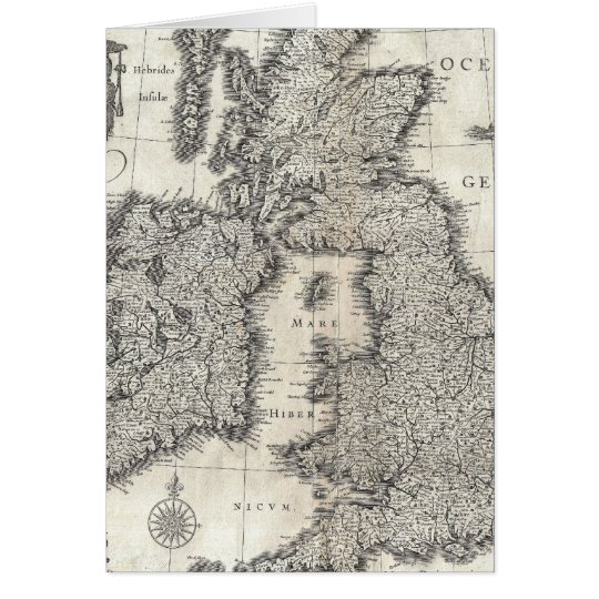 Vintage Map of England and Ireland (1631) Card