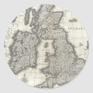 Vintage Map of England and Ireland (1631) Classic Round Sticker