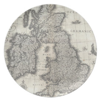 Vintage Map of England and Ireland (1631) Dinner Plate
