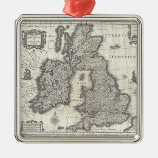 Vintage Map of England and Ireland (1631) Metal Ornament