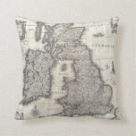 Vintage Map of England and Ireland (1631) Throw Pillow