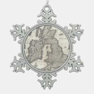 Vintage Map of England and Ireland (1631) Snowflake Pewter Christmas Ornament