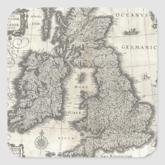 Vintage Map of England and Ireland (1631) Square Sticker