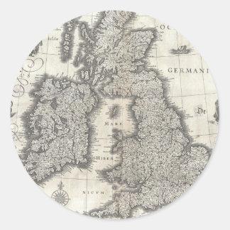 Vintage Map of England and Ireland (1631) Round Sticker