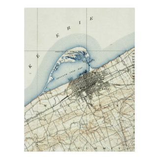 Vintage Map of Erie Pennsylvania (1899) Poster