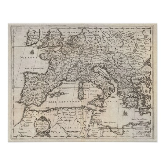 Vintage Map of Europe (1852) Poster