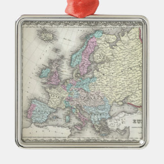 Vintage Map of Europe (1855) Metal Ornament