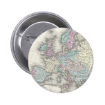 Vintage Map of Europe (1855) Pinback Buttons