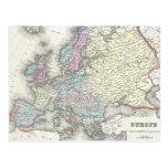 Vintage Map of Europe (1855) Postcards