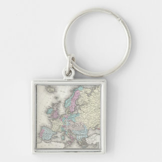 Vintage Map of Europe (1855) Silver-Colored Square Keychain