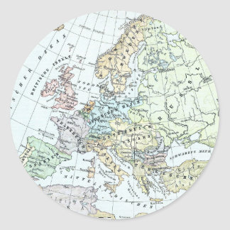 Vintage Map of Europe (1899) Classic Round Sticker