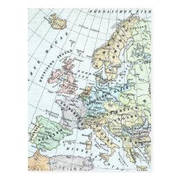 Vintage Map of Europe (1899) Postcard