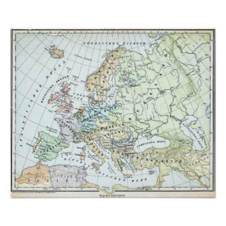 Vintage Map of Europe (1899) Poster