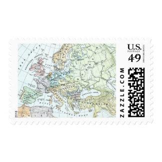 Vintage Map of Europe (1899) Stamp